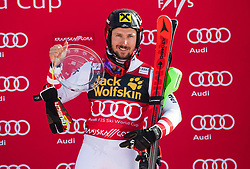 Marcel Hirscher of Austria during the flower ceremony Men's Slalom race of FIS Alpine Ski World Cup 57th Vitranc Cup 2018, on March 4, 2018 in Kranjska Gora, Slovenia. Photo by Urban Meglič / Sportida