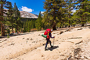 Backpacker on the Cottonwood Lakes Trail, Golden Trout Wilderness, California USA