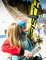 Kamil Stoch of Poland kissing his girlfriend after the trophy ceremony after the Ski Flying Hill Men's Team Competition at Day 3 of FIS Ski Jumping World Cup Final 2017, on March 25, 2017 in Planica, Slovenia. Photo by Vid Ponikvar / Sportida