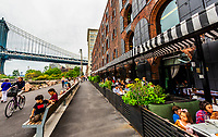 Cicoone's Restaurant, with Manhattan Bridge on left, DUMBO (Down Under the Manhattan Bridge Overpass), Brooklyn, New York USA.