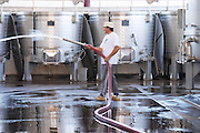 cleaning the winery floor herdade de sao miguel alentejo portugal