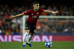December 12, 2018 - Valencia, Spain - Andreas Pereira of Manchester United does passed during the match between Valencia CF and Manchester United at Mestalla Stadium in Valencia, Spain on December 12, 2018. (Credit Image: © Jose Breton/NurPhoto via ZUMA Press)