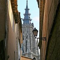 Europe, Spain, Toledo. Cathedral Steeple & Streetlight of Toledo.