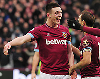 Football - 2018 / 2019 Premier League - West Ham United vs. Arsenal<br /> <br /> Winning goalscorer Declan Rice celebrates at the final whistle, at The London Stadium.<br /> <br /> COLORSPORT/ANDREW COWIE