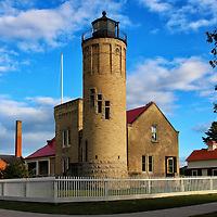 """""""Light the Way""""<br /> <br /> The Old Mackinac Point Lighthouse in Mackinaw City Michigan.<br /> <br /> Lighthouses of the Great lakes by Rachel Cohen"""