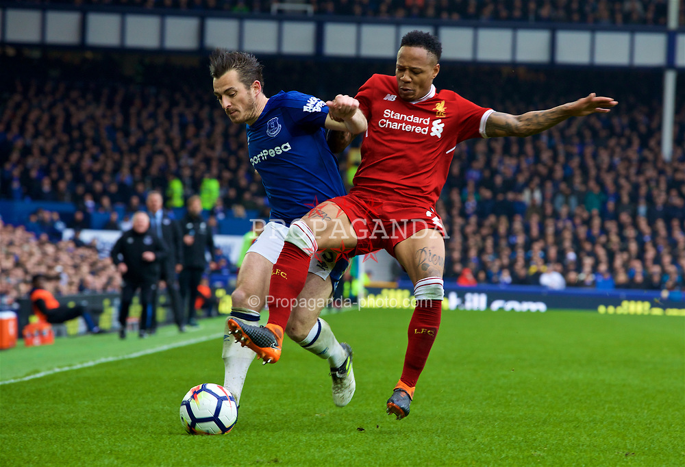 LIVERPOOL, ENGLAND - Saturday, April 7, 2018: Liverpool's Nathaniel Clyne (right) and Everton's Leighton Baines (left) during the FA Premier League match between Everton and Liverpool, the 231st Merseyside Derby, at Goodison Park. (Pic by Jason Roberts/Propaganda)