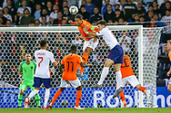Netherlands Defender Virgil van Dijk (Liverpool) and England defender Harry Maguire (Leicester City) clash in the air during the UEFA Nations League semi-final match between Netherlands and England at Estadio D. Afonso Henriques, Guimaraes, Portugal on 6 June 2019.
