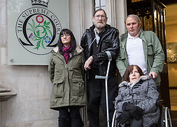 © Licensed to London News Pictures. 09/11/2016. London, UK. Paul Rutherford, Sue Rutherford, Jayson Carmichael and Charlotte Carmichael arrive at the Supreme Court, London, to hear a ruling on the bedroom tax. They claim that the bedroom tax, which restricts housing subsidies, is unfair. Photo credit : Tom Nicholson/LNP