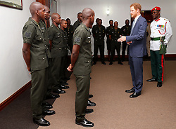Prince Harry meets service men and women during a visit to Camp Ayanganna, the headquarters of the Guyana Defence Force, in Georgetown, Guyana, after arriving in the South American country on the final stop of his 15-day tour of the Caribbean.
