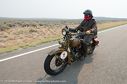 Steve DeCosa riding his 1927 Harley-Davidson JD during Stage 13 (257 miles) of the Motorcycle Cannonball Cross-Country Endurance Run, which on this day ran from Elko, NV to Meridian, Idaho, USA. Thursday, September 18, 2014.  Photography ©2014 Michael Lichter.