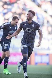 Falkirk's Myles Hippolyte helps Falkirk's Conrad Balatoni celebrate after scoring their first goal. Falkirk 2 v 0 Dunfermline, Scottish Challenge Cup played 7/9/2017 at The Falkirk Stadium.