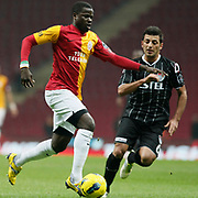 Galatasaray's Emmanuel Eboue (L) during their Turkish Super League soccer match Galatasaray between Manisaspor at the TT Arena at Seyrantepe in Istanbul Turkey on Wednesday, 21 December 2011. Photo by TURKPIX