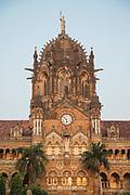 View of Chhatrapati Shivaji Terminus Railway Station / Victoria Terminus against clear sky, Mumbai, India