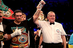 Oleksandr Usyk (left) after victory against Tony Bellew after their WBC, WBA, IBF, WBO & Ring Magazine Cruiserweight World Championship bout at Manchester Arena.
