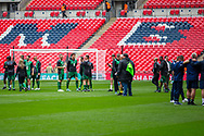 Chertsey Town and Cray Valley players inspect the pitch ahead of the FA Vase final match between Chertsey Town and Cray Valley at Wembley Stadium, London, England on 19 May 2019.