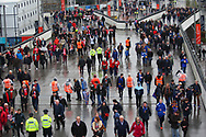 Supporters streaming down Wembley Way during the EFL Trophy Final match between Lincoln City and Shrewsbury Town at Wembley Stadium, London, England on 8 April 2018. Picture by John Potts.