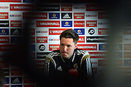 Wales Goalkeeper Wayne Hennessey speaks to the press at the Wales football team players media conference at Hensol Castle  near Cardiff, South Wales on Tuesday 9th June 2015. The Wales team are preparing for their forthcoming Euro 2016 qualifying match against Belgium.<br /> pic by Andrew Orchard, Andrew Orchard sports photography.