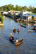 VietNam, Soc Trang on 22 November 2014: Beautiful view of Nga Nam floating market in the morning