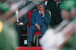 Joseph Kabila, president of the Democratic Republic of Congo, watches a military parade during independence day celebrations marking 41 years of independence from Belgium, in Kinshasa, on Thursday, June 30, 2001. (Photo © Jock Fistick)