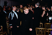 Musician Elton John during the State Dinner honoring British Prime Minister Tony Blair at the White House February 5, 1998 in Washington, DC. Elton John performed with fellow musician Stevie Wonder at the dinner.