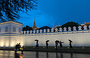 Mourners gather at the Royal Palace, Wat Phra Kaew, to pay respects to the late King Bhumibol Adulyadej, who passed away on 13 October, 2016.