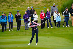 Auchterarder, Scotland, UK. 14 September 2019. Saturday morning Foresomes matches  at 2019 Solheim Cup on Centenary Course at Gleneagles. Pictured; Georgia Hall of Team Europe plays approach shot to 7th hole. Iain Masterton/Alamy Live News
