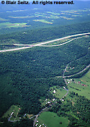 Aerial, PA Turnpike, Farm and Forest Aerial Photograph Pennsylvania