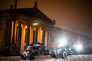 ATV drivers descend the steps of the Philadelphia Museum of Art during the first winter storm of the season on Wednesday, December 16, 2020. At least 5.7 inches of snow descended on Philadelphia, the most since March 2018.<br /> <br /> Credit: Cameron Pollack for The New York Times