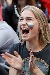 June 25, 2018 - Saint Petersburg, Russia - Russia supporter reacts during the FIFA World Cup 2018 match between Russia and Uruguay on June 25, 2018 at Fan Fest zone in Saint Petersburg, Russia. (Credit Image: © Mike Kireev/NurPhoto via ZUMA Press)