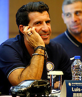 Portuguese football star Luis Figo attends a press conference for the 2014 China-Italy The Football Legends Challenge Match in Wuhan city, central China's Hubei province, 16 October 2014.<br /> <br /> The 2014 China-Italy The Football Legends Challenge Match will kick off on Sunday (19 October 2014) in the central Chinese city of Wuhan.