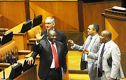 180215. Cyril Ramaphosa in parliament where he was named south africa new president. He is congratulated by other members of parliament. Pic Cindy Waxa/ANA