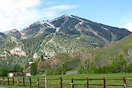 Sun Valley Ski Mountain seen just outside the entrance to Sun Valley Resort