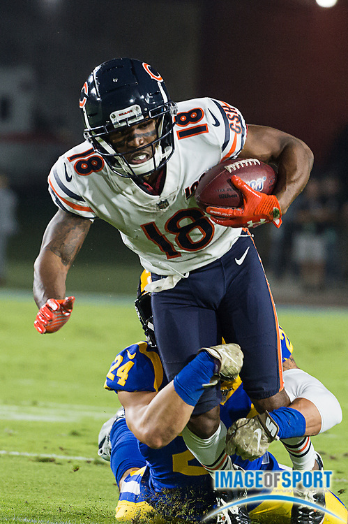 Chicago Bears wide receiver Taylor Gabriel (18) runs the ball after a catch against Los Angeles Rams during an NFL game on Sunday, Nov. 17, 2019, in Los Angeles. The Rams defeated the Bears 17-7. (Ed Ruvalcaba/Image of Sport)