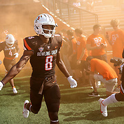 Bowling Green players run out ahead of a Mid-American Conference college football game between Bowling Green State University and the University of Akron at BGSU's Doyt Perry Stadium in Bowling Green on Saturday, Oct. 9, 2021. THE BLADE/KURT STEISS