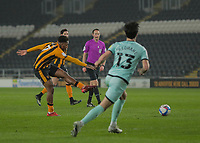 Hull City's Mallik Wilks  scores his side's first goal  in the 24th minute <br /> <br /> Photographer Lee Parker/CameraSport<br /> <br /> The EFL Sky Bet League One - Hull City v Rochdale - Tuesday 2nd March 2021 - KCOM Stadium - Kingston upon Hull<br /> <br /> World Copyright © 2021 CameraSport. All rights reserved. 43 Linden Ave. Countesthorpe. Leicester. England. LE8 5PG - Tel: +44 (0) 116 277 4147 - admin@camerasport.com - www.camerasport.com