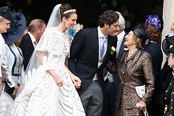 Prince Jean-Christophe Napoleon poses with his grandmother, Princess Napoleon and his wife Olympia Von Arco-Zinneberg afterntheir Royal wedding of the Cathedral at the end of their Royal wedding at Les Invalides on October 19, 2019 in Paris, France. Photo by David Niviere/ABACAPRESS.COM