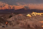 A photographer shoots Zabriskie Point at sunrise.  Death Valley National Monument, California/ Nevada, USA.