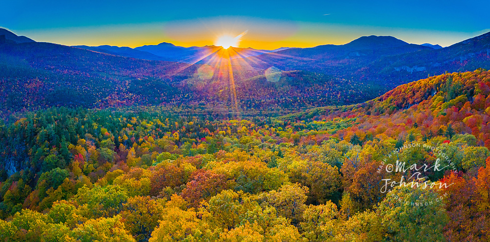 Panoramic aerial view of autumn (fall) leaf colors, White Mountains, New Hampshire, New England, USA