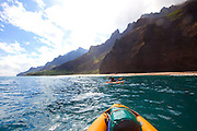 Kayaking, Kalalau Beach, Napali Coast, Kauai, Hawaii