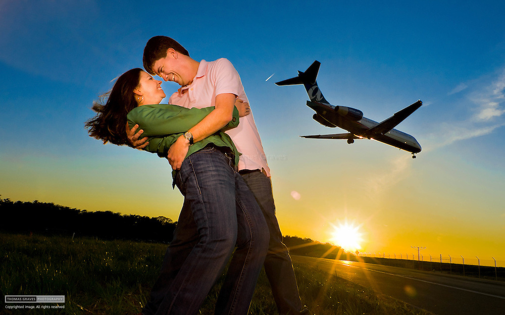Abby Bond & Jamison Hensley are shown here near BWI airport in Maryland, for their engagement portrait.