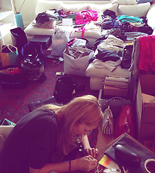 """Toni Garrn releases a photo on Instagram with the following caption: """"This is what it really looks like when you decide to ask all your friends for clothes\ud83d\ude48My living room 3 years ago was loaded from all my girls donations (during fashionweek!) My agent Eva came and helped me tag and look up prices for days, then my mom also flew in to help steaming\ud83d\udcaa\ud83c\udffc So excited and thankful to have a partner this year with @vestiaireco #teamwork #dreambig (Shoutout to all the NYC doormen TRYING to sort us out with logistics\ud83d\ude02) #fbf"""". Photo Credit: Instagram *** No USA Distribution *** For Editorial Use Only *** Not to be Published in Books or Photo Books ***  Please note: Fees charged by the agency are for the agency's services only, and do not, nor are they intended to, convey to the user any ownership of Copyright or License in the material. The agency does not claim any ownership including but not limited to Copyright or License in the attached material. By publishing this material you expressly agree to indemnify and to hold the agency and its directors, shareholders and employees harmless from any loss, claims, damages, demands, expenses (including legal fees), or any causes of action or allegation against the agency arising out of or connected in any way with publication of the material."""