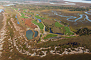 Aerial view of the Ocean Course golf resort on the eastern end of Kiawah Island, South Carolina.