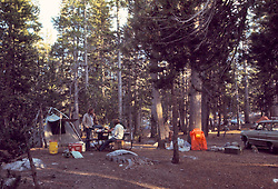 Campsite in Early Morning, Tuolumne Meadows, Yosemite National Park. View shot on Kodachrome II, Nikon Ftn camera,  30 July 1973