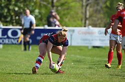 Poppy Cleall of Bristol Ladies opens the scoring for Bristol Ladies  - Mandatory by-line: Paul Knight/JMP - 09/04/2017 - RUGBY - Cleve RFC - Bristol, England - Bristol Ladies v Saracens Women - RFU Women's Premiership Play-off Semi-Final