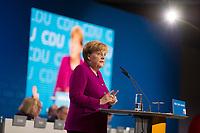 DEU, Deutschland, Germany, Berlin,26.02.2018: Bundeskanzlerin Dr. Angela Merkel (CDU) bei ihrer Rede auf dem Parteitag der CDU in der Station. Die Delegierten stimmten mit großer Mehrheit für die Neuauflage der Großen Koalition (GroKo).