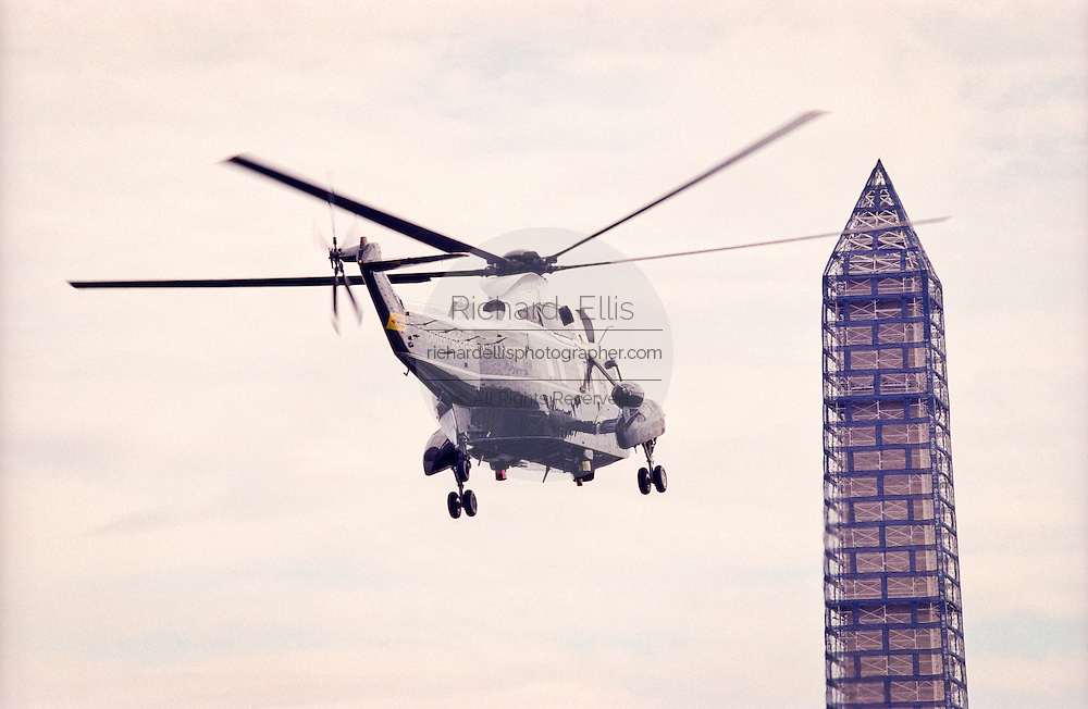 President Bill Clinton departs in Marine One helicopter on his way to Camp David March 28, 1999. Clinton later met with his National Security team to discuss the situation in Kosovo.