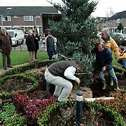 Plaatsing kerstboom aan het Kombuis Huizen, ism CDA fractie