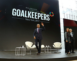 Former US President Barack Obama appears on stage during the Bill and Melinda Gates foundation's Goalkeepers 2017 at Jazz at Lincoln Center in New York.