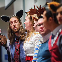 """120214  Adron Gardner/Independent<br /> <br /> The University of New Mexico - Albuquerque Opera theater performers entertain area elementary students with a performance of """"The Trial of Goldilocks"""" at UNM in Gallup Tuesday."""