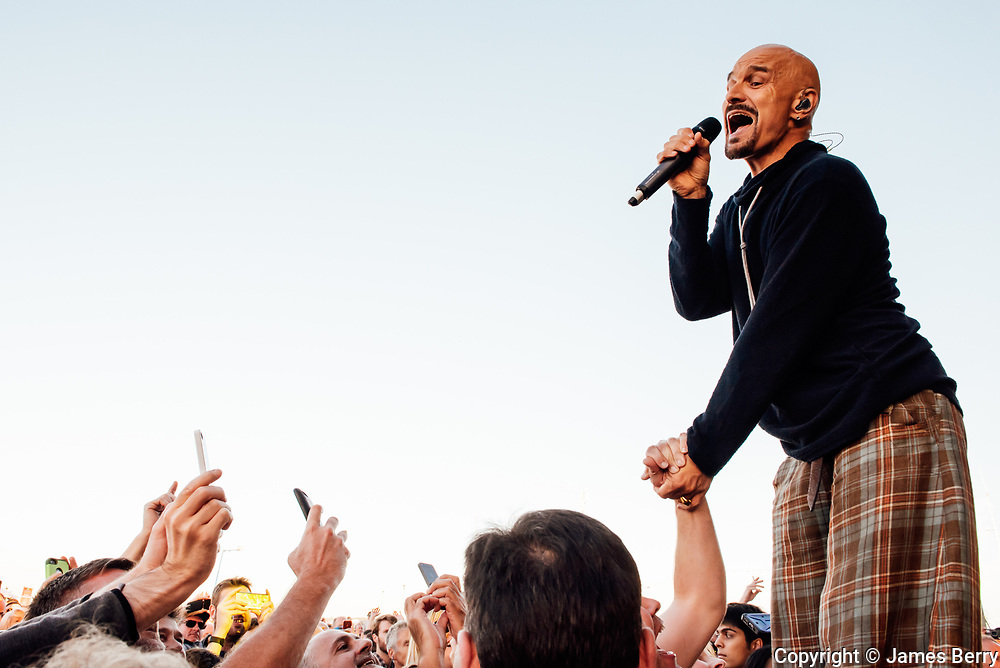 James perform live on the main stage at the On Blackheath festival, London, on Sunday 11 September 2016. Picture shows Tim Booth.
